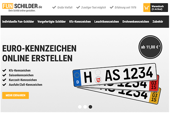 Funschilder.de - Shop-Screenshot
