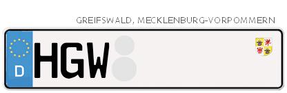 Kfz-Kennzeichen in Greifswald