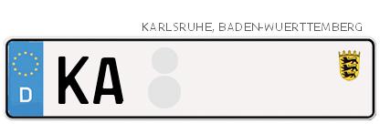 Kfz-Kennzeichen in Karlsruhe